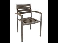 DENMARK - Chaise en résine et aluminium - Empilable - CENDRE