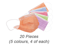 Kids 5 Colours Disposable Face Masks (20 Pieces)