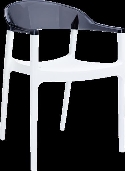 """<meta charset=""""UTF-8"""">CARMEN - Chaise en résine et polycarbonate - BLANC/NOIR TRANSPARENT"""