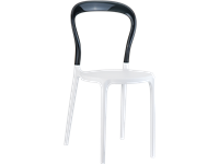 BOBO - Chaise en résine et polycarbonate - WHITE/BLACK TRANSPARENT
