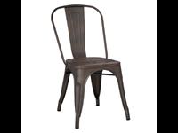 SOHO - Chaise en métal - Siège en bois - GUN METAL