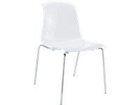 ALLEGRA - Chaise en polycarbonate et chrome - Empilable - GLOSSY WHITE
