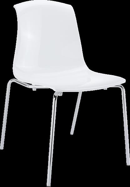 "<meta charset=""UTF-8"">ALLEGRA - Chaise en polycarbonate et chrome - Empilable - BLANC brillant"