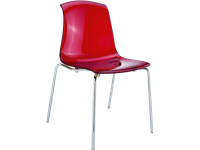ALLEGRA - Chaise en polycarbonate et chrome - Empilable - RED TRANSPARENT