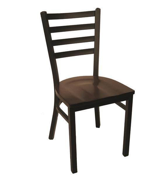 "<meta charset=""UTF-8"">LEO - Chaise en métal- Armature NOIR - Siège bois NOYER"