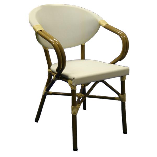 "<meta charset=""UTF-8"">KEY WEST - Chaise en aluminium - avec BRAS - Simili rotin - Tressage - BEIGE"