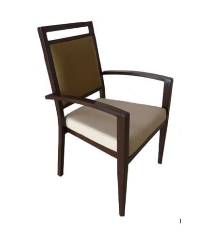 """<meta charset=""""UTF-8"""">FRANCE - Chaise avec BRAS en aluminium - PSB en vynile - Siège BRUN & DOSSIER BEIGE"""