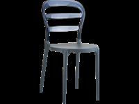 BIBI - Chaise en résine et polycarbonate - DARK GREY/SMOKE GREY