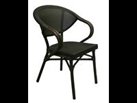 KEY WEST - Chaise en aluminium avec bras - Style rotin - BLACK