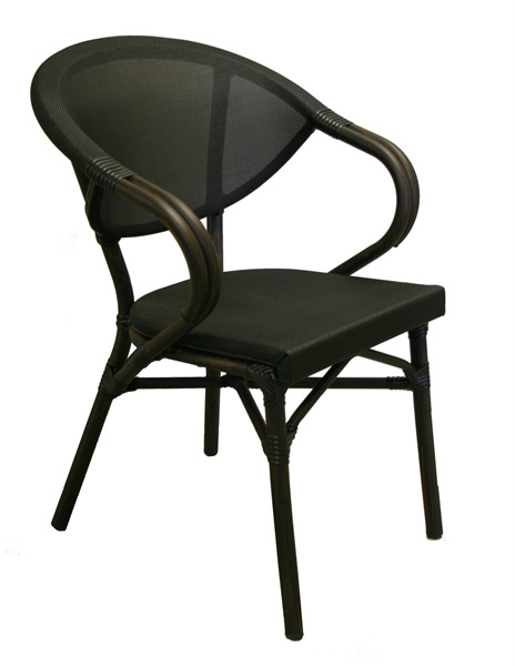"<meta charset=""UTF-8"">KEY WEST - Chaise en aluminium avec BRAS - Style rotin - NOIR"