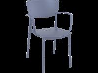 LISA - Chaise en résine avec bras - GRIS ARGENTÉ