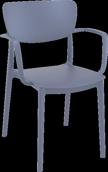 """<meta charset=""""UTF-8"""">LISA - Chaise en résineavec BRAS - GRIS ARGENT"""