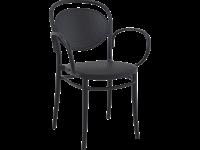 MARCEL XL - Chaise avec bras en résine - NOIRE