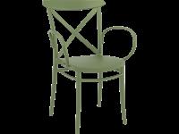 CROSS - Chaise avec bras en résine - OLIVE VERTE