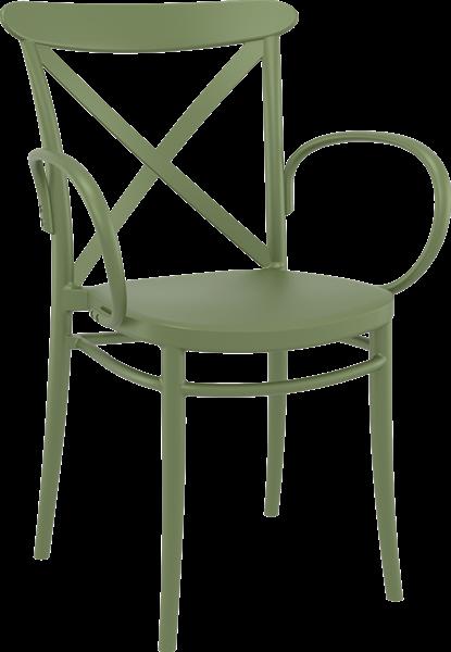 """<meta charset=""""UTF-8"""">CROSS - Chaise avec BRAS en résine- OLIVE VERTE"""