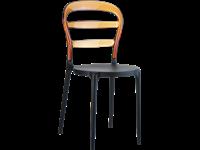 BIBI - Chaise en résine et polycarbonate - BLACK/AMBER