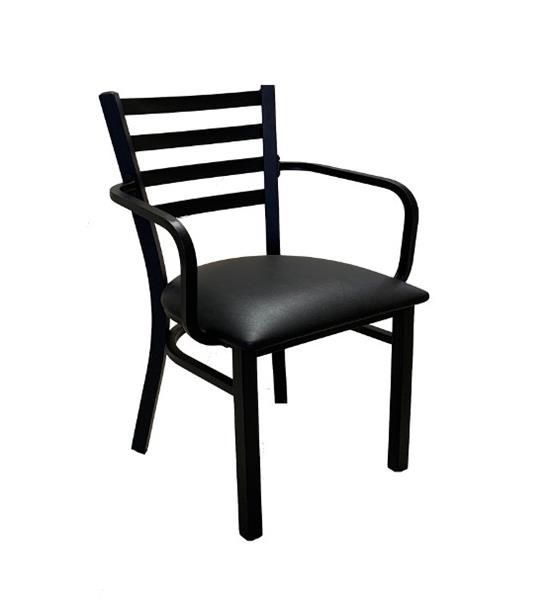 """<meta charset=""""UTF-8"""">LEO XL - Chaise en métalXL - Avec BRAS - Armature NOIR - Siège en vinyle - GRIS"""