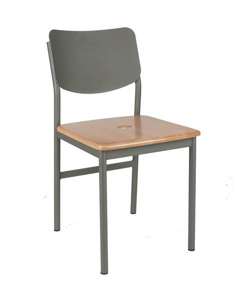 "<meta charset=""UTF-8"">LOUKU - Chaise métal- Siège en bois - Armature ANTHRACITE"