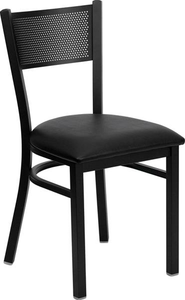 """<meta charset=""""UTF-8"""">LEVIS - Chaise en métal- Armature NOIR - Coussin en vinyle - NOIR"""
